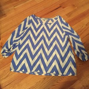 ModCloth Tops - Tinley Blue and White Chevron Top