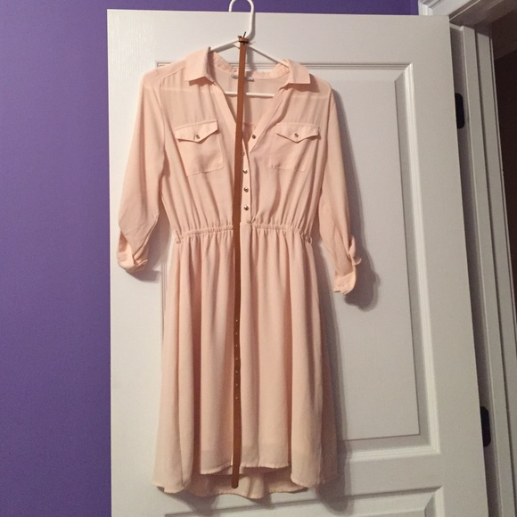 Charlotte Russe Dresses - Blush Charlotte Russe long sleeve dress with belt