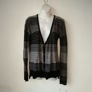 BDG Sweaters - BDG Black Gray Striped Cardigan