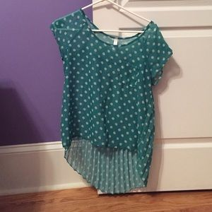 Xhilaration Tops - Teal Polka Dotted Blouse from Xhilaration