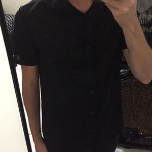 Men's black jersey like button down small