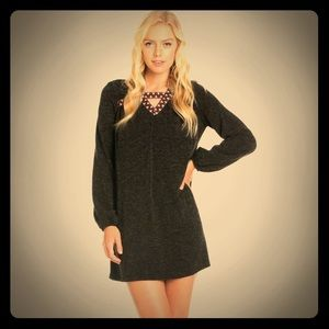 ❄️FINAL OFFER‼️❣️Embroidered Heather Knit Dress❣️