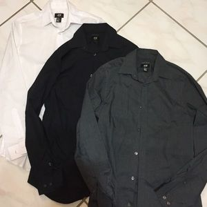 Men's h&m dress shirt bundle 3 slim fit shirts