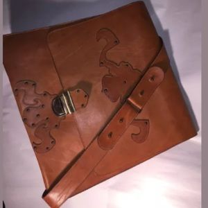 custom made ITALIAN tan leather MESSENGER BAG