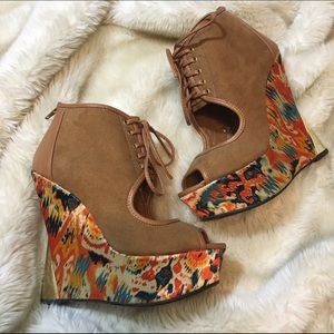 Faux Suede Printed Peep Toe Lace Up Wedges