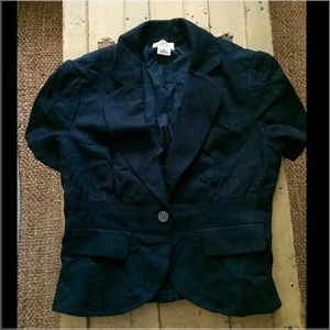 Michael Kors 100% cotton black sh slv blazer 10