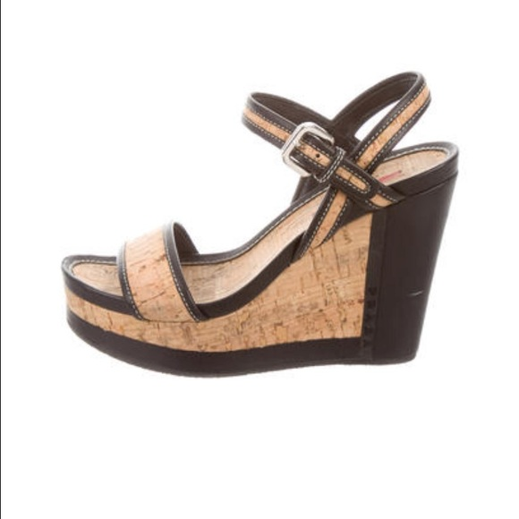 f43dc72dbe9f Prada Sport cork platform wedges. M 5828678bd14d7b376706c20b. Other Shoes  you may like. Black patent ...