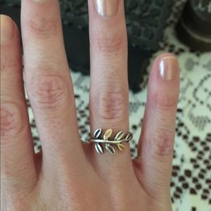 3e35cb8dc57b8 Pandora silver and 14k gold Laurel Leaves ring.