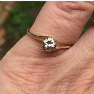 14k Art Deco Set Genuine Diamond Engagement Ring