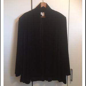J.B.S Plus Black Velvet Drape Front Jacket