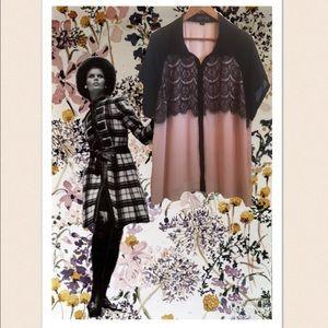 Forever 21 Plus Light Pink/Blush & Black Lace Top