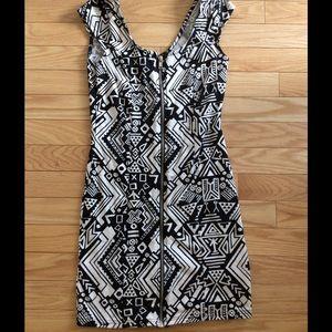 H&M FUNK TRIBE PRINT BLACK N WHITE MINI DRESS