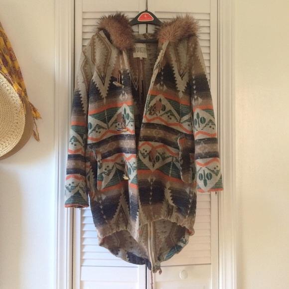 Bb Dakota Jackets Coats Aztec Print Coat With Faux Fur Hood
