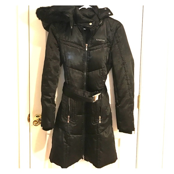 db21e8c81 Bebe long belted down puffer jacket with fur hood