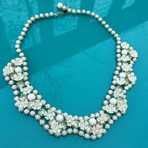 Vintage  Jewelry - Vintage Leru White Milkglass Rhinestone Necklace