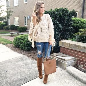 Fringe Pullover Sweater Poncho