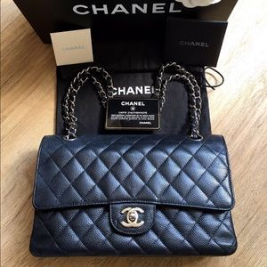 Chanel Medium Caviar Double Flap SHW