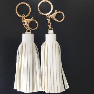 Accessories - Vegan Leather Tassel Keychains - White