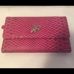 Pink Lizard Checkbook Wallet Clutch NWOT