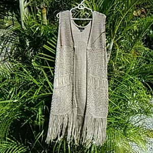 Long Retro Fringe Vest Plus Size