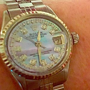 Rolex Accessories - Ladies Rolex with Mother of Pearl and Diamond Face