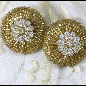 Vintage Jewelry - Vintage Unique Gold Bead Rhinestone Clip Earrings