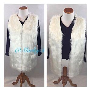 HOST PICK!!Amazing White Faux Fur Long Vest