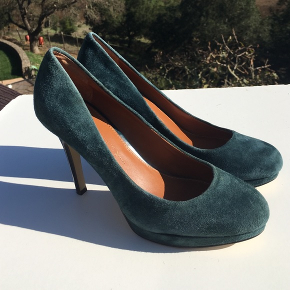 Banana Republic Shoes - Banana Republic Kristen Suede Heels Teal Turquoise
