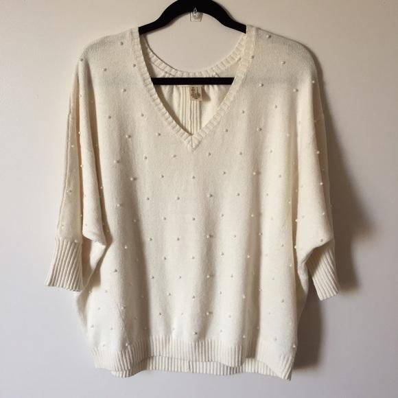 White Beaded Sweaters