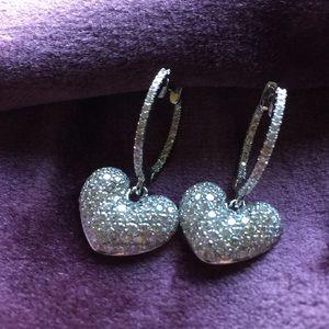 Jewelry - Authentic 3.50 Pave Diamond 18K Heart Earrings