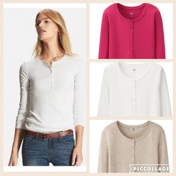 56b0d4da Uniqlo Tops | 3 Henley Long Sleeve Tshirt | Poshmark