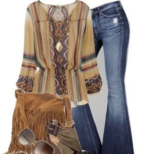 Haute Hippie Tribal Print Top