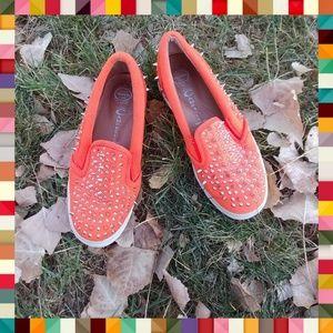 Jeffrey Campbell Shoes - Jeffrey Campbell Neon Orange Spiked Slip-Ones
