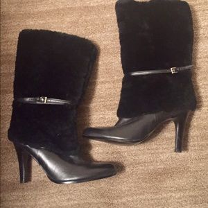 NEW LAUREN Ralph Lauren Black Boots 8 leather/fur