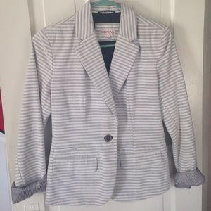 Gray and white stripped blazer