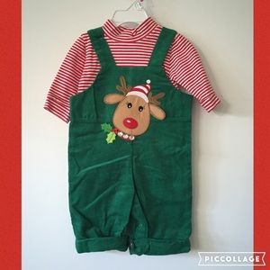Other - NEW! Green Corduroy Reindeer Overalls with Top