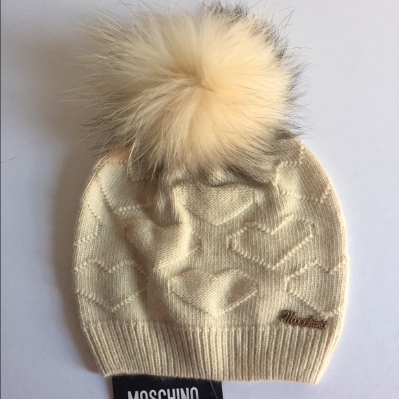 f873097857d Moschino Heart Wool Hat w  Raccoon fur Pom Cream
