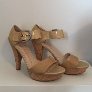 Franco Sarto Nude Platform Heels with Cork Heel