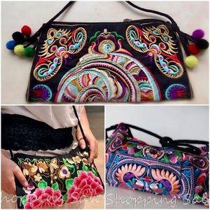 Handbags - Thailand Cloth Embroidered Boho Crossbody Bag NWT