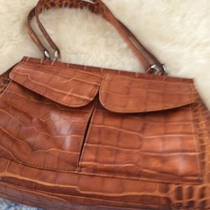Sondra Roberts croc embossed handbag