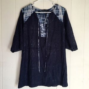 Gypsy05 3/4 Sleeve Lace Up Front Tunic