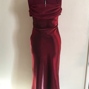 Elegant vintage crimson cocktail dress