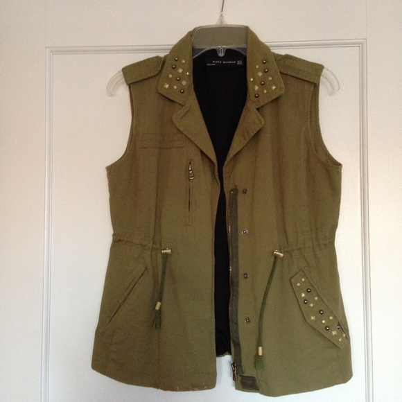 85% off Jackets & Blazers - Studded army green parka vest from ...