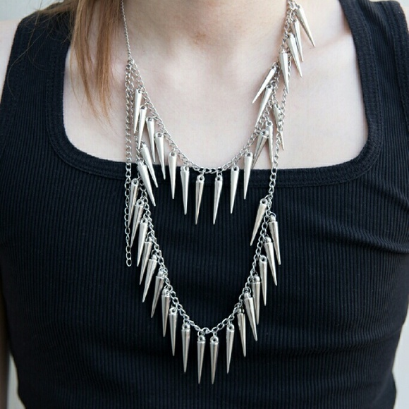 Hot Topic Accessories - Silver Spike Necklace Layered Tiered Punk Unisex