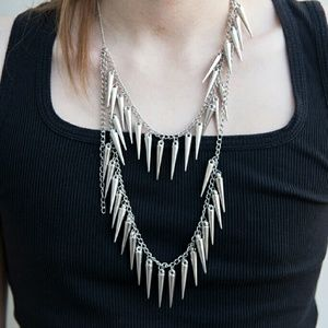 Hot Topic Other - Silver Spike Necklace Layered Tiered Punk Unisex