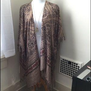Sweaters - Open Front Shawl w/ Sleeves & Tassels