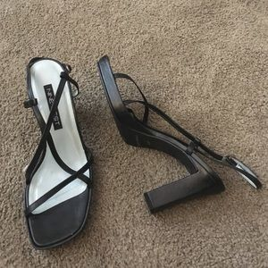 Nine West Black leather strappy high heel sandals