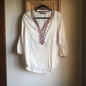Zara Embroidered Henley w/ Beading