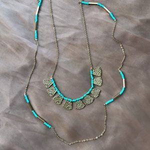 Turquoise & Gold Boho Chic Double Chain Necklace
