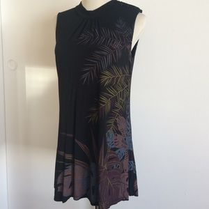 Zara black palm leaf geisha tunic dress M